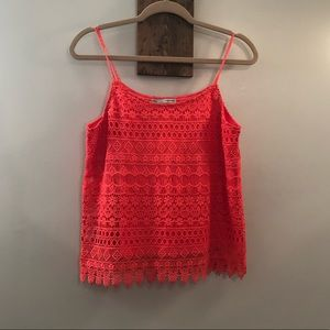 Coral lace tank by Maurice's Size Small